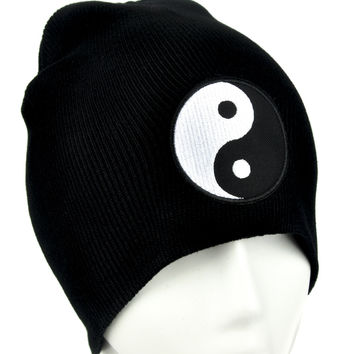 Yin Yang Sign Beanie Alternative Clothing Knit Cap Asian Martial Arts