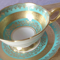 Antique turquoise tea cup set, vintage Royal Stafford English tea set, turquoise and gold bone china cup and saucer