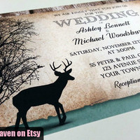 Rustic Deer Wedding Invitations PRINTED Invitations - 10 to 250 - Woodsy with Faded Hunter Green