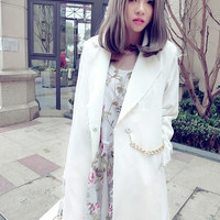 casual blazer/ loose fit outwear/Modern blazer/Long basic blazer/fabric coat/frayed jacket/white black balzer/spring women clothing