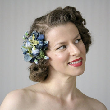 "Blue Green Headpiece, Flower Fascinator, 1940s Hairpiece, 1950s Hair Clip Accessory, Vintage Silk Velvet - ""Cerulean Garden"""
