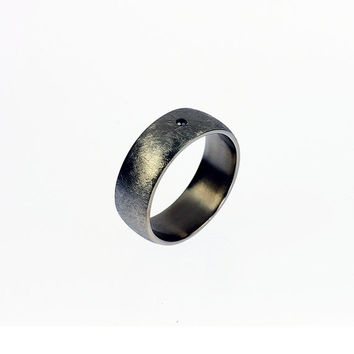 Ready to ship size 10.25, Titanium wedding band, black diamond ring, men wedding ring, modern, commitment, men diamond band, scratched, wide