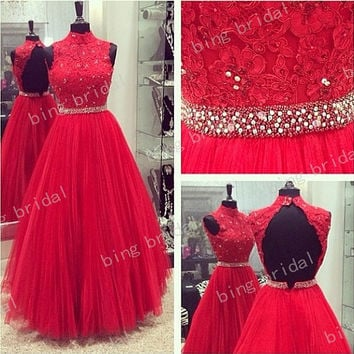 Aline High Neck Sleeveles Backless Full Length Lace Tulle Sequins Evening Dress Prom Dress 2014