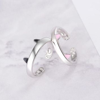 JEXXI Pretty Cat Band Silver Promise Rings Fashion Women Party Jewelry 2 Colors Cute Gift For Girls/Children