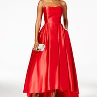 Betsy & Adam Strapless High-Low Ball Gown | macys.com