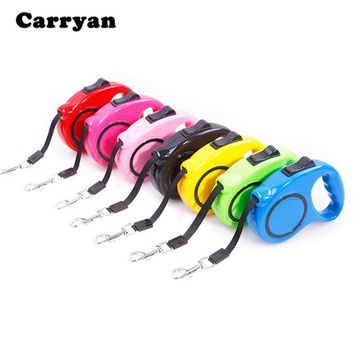 Carrywon Automatic Dogs Pet 5M Leash Lead for Daily Walking One-handed Lock Training Adjustable Puppy Dog Collar Leashes Leads
