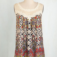 Boho Mid-length Sleeveless Always the Fun One Top in Tile