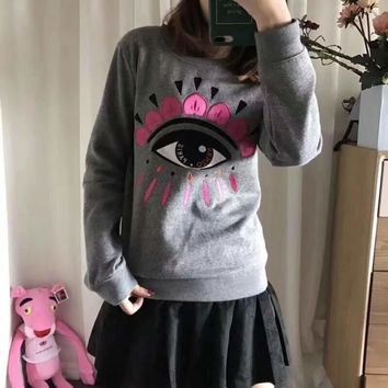 KENZO Women Fashion Embroidery Eye Top Sweater Pullover2