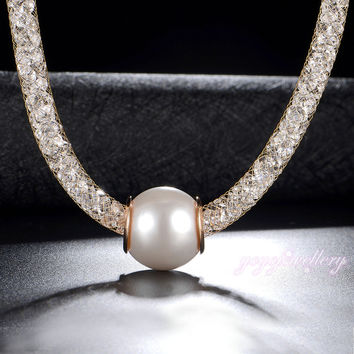 Mytys A string of beads Pearl Pendant Necklace Gold Plated Wire Mesh Net Fashion Necklace CN185 CN186