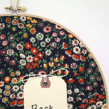 Memo Board/Cork Board /Navy Blue Floral Liberty of London Cork Board with Pins/ Organization/Wall Decor/Home/Home Office