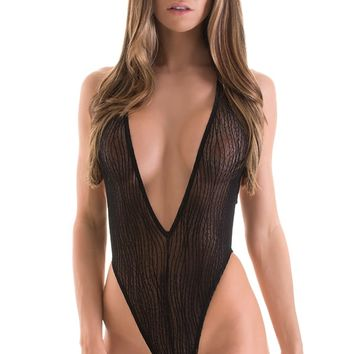 Plunging Neckline One Piece Tanga in Black Breaker Mesh