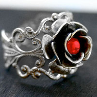 Silver Rose Ring with Red by robinhoodcouture