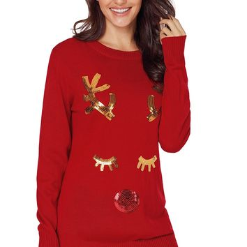 Sequined Reindeer Face Red Christmas Sweater