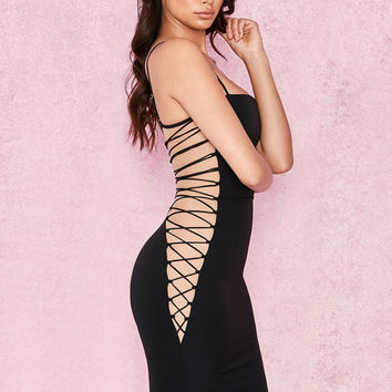 Clothing : Bodycon Dresses : 'Bambina' Black Crepe Lace Up Dress