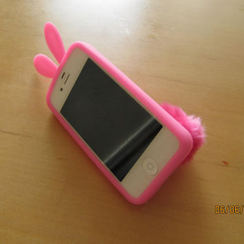 Iphone 4/4s Flexible Rubber Rabito Bunny Case with Fluffy Tail Pink