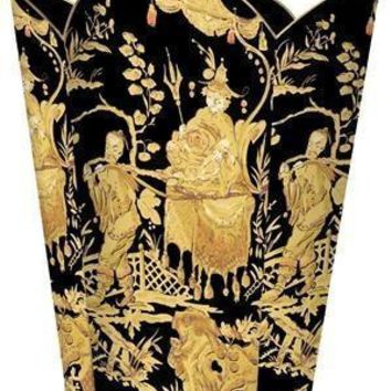 Black and Gold Asian Toile Wastebasket
