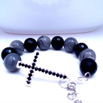 Cross Bracelet, Black and Grey Christian Jewelry, Religious Bracelet, Spiritual Jewellery, Christian Bracelet, Cross Jewelry