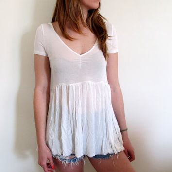 High Low Tunic White Sheer Thin See Through Thru Hi Lo Babydoll Boho Bohemian Shirt Blouse Top