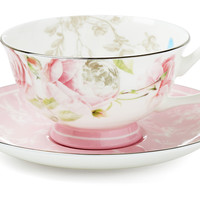 Beau Rose Teacups & Saucers, Set of 4, Tea Cups & Saucers