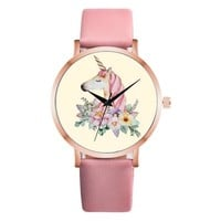 Women's watch women watches for women Unicorn Animal Leather Strap Wrist Watch Women Girl Analog Quartz Watch