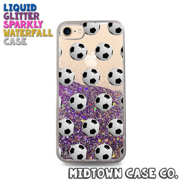 Soccer Balls Pattern Sports Hot Athlete Cute Liquid Glitter Waterfall Quicksand Sparkles Glitter Bomb Bling Case for iPhone 7 7 Plus 6s 6