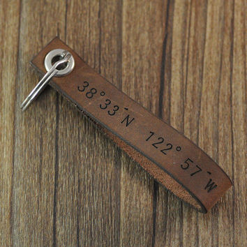 Wholesale personalized leather keychain,Latitude and Longitude Custom Leather Keychain,GPS Coordinates, man's jewerly