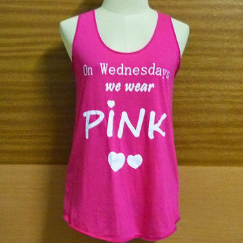 Rretty tops Pink T-Shirt Wednesdays T-Shirt We Wear Tank Tops Women Fashion Pink Love T-Shirt Teen Girls printing Tee Gifts Shirt  L