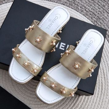 Chanel Women Fashion Casual Low Heeled Shoes Sandals Shoes
