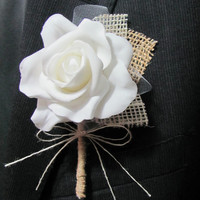 Boutonniere Burlap & Lace - Rustic Vintage - Wedding / Event Supplies