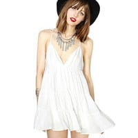 Sexy White Summer Sleeveless Chiffon Deep V Neck Short Mini Dress Womens