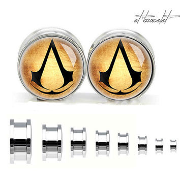 Vintage Assassin's Creed stainless steel ear gauge, silvery tunnel plugs,Stainless Steel Screw Ear Gauges, Flesh Tunnels Plugs,