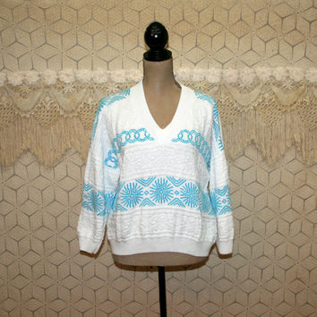 80s Sweater Hipster Oversized Slouchy Pullover Light Blue White Nordic Sweater V Neck Womens Sweaters Cotton Sweater Vintage Clothing