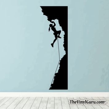 Rock Climbing Wall Decal - WomMan Mountain Climber Sticker #00022