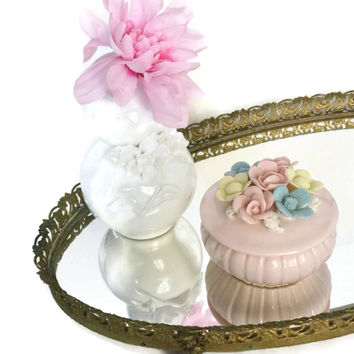 Delicate Pastel Boudoir Box, Porcelain Powder Box, Bridal Shower Gift, Gift for Bride, Feminine Shabby Chic Decor, Ring Box