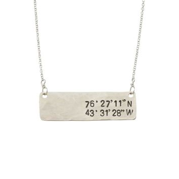 Tacoma Horizon Latitude and Longitude Necklace Sterling Silver