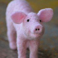 Pig Sculpture - needle felted piglet - Needle felted animals