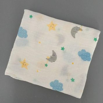 "[Sigzagor]Multifunctional  Muslin 100% Cotton Soft Newborn Baby Bath Towel Swaddle Blankets Baby Wrap 43.3""x43.3"" 110cmx110cm"