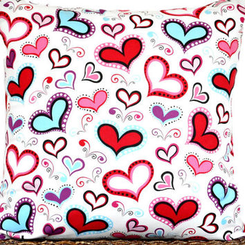 Retro Valentine's Pillow Cover Cushion Hearts Mod Red Turquoise Pink Purple Black White Polka Dots Scrolls Decorative 18x18