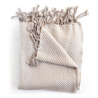 Sophia Cream/Taupe Herringbone Throw