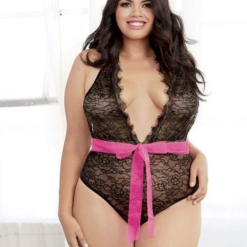 Plus Size Plunging Open Back Teddy
