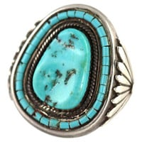 Navajo Turquoise Men's Ring Sterling Silver
