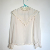 Cream Lace Collar Edwardian Blouse 1970s Witch