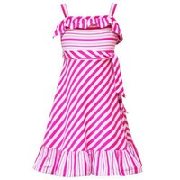 Rare Editions LITTLE GIRLS 4-6X FUCHSIA-PINK WHITE MIXED STRIPED RUFFLE KNIT Spring Summer Easter Party Dress