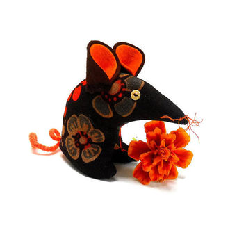 Retro Mouse 70s Orange and Brown Boras Swedish Vintage Fabric