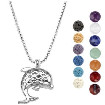 Essential Oil Dolphin Diffuser Necklace w/7 Chakra Lava Stones
