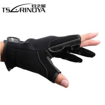 Tsurinoya Durable Gloves Three Fingers Outdoor Diving Cloth +PU Gloves Riding Glove Anti-cut Stretch Fishing Glove Tackle Tools