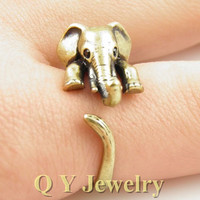 Hippie Mid Finger Elephant Ring Fine Jewelry Boho Chic Bague Brass Knuckle For Women Men