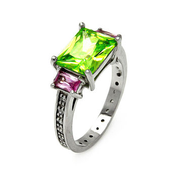 925 Sterling Silver Ladies Jewelry Pink And Green Cubic Zirconia Stones Past Present Future Ring Width: 9mm: Size: 5