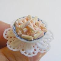 Scented or Unscented Marshmallow Flumps Miniature Food Ring - Miniature Food Jewelry