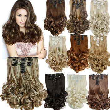 "New 20""Hair Extension 16Colors Clip in Hair Extensions 8pcs/set Long Hairpiece Curly Wavy Heat Resistant Synthetic Natural Hair"